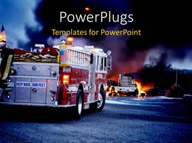 PowerPoint template displaying two fire service trucks attending to a burning building