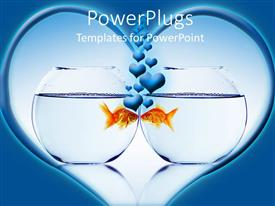 PowerPlugs: PowerPoint template with two fishbowls with goldfish kissing through bowls with hearts coming out from the fishes heads in heart shape on blue background