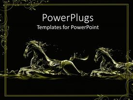 PowerPoint template displaying two fluid gold running horse silhouettes on black background with decorative frame