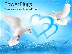 PowerPlugs: PowerPoint template with two flying doves with wide open wings with two blue hearts over the clouds