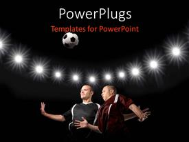 PowerPoint template displaying two football players struggling for the ball with lights in background
