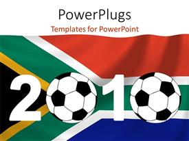 PowerPoint template displaying two footballs with South African in the background