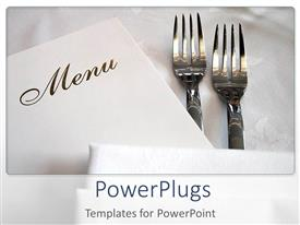 PowerPoint template displaying two forks and the menu card with white background