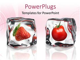 PowerPoint template displaying two frozen ice cubes with strawberry and tomato inside