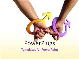 PowerPlugs: PowerPoint template with two gay men holding hands with male symbol as bracelets