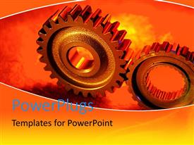 PowerPlugs: PowerPoint template with large connected cog wheels in red background