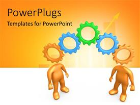 PowerPlugs: PowerPoint template with two gears with a number of gears and yellowish background