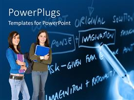 PowerPlugs: PowerPoint template with two girls with a number of words in the background