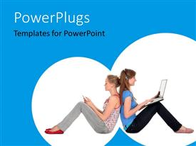 PowerPoint template displaying two girls working on the laptop with bluish background