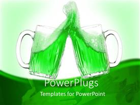 PowerPlugs: PowerPoint template with two glass cups toasting with green drink in both