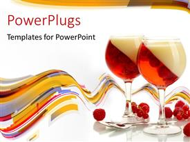 PowerPoint template displaying two glasses of raspberries with red cherries on white surface