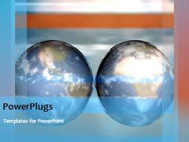 PowerPlugs: PowerPoint template with two globes spinning with clouds in the background