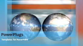 PowerPoint template displaying two globes spinning with clouds in the background - widescreen format