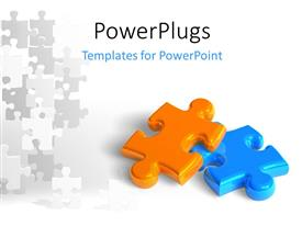 PowerPlugs: PowerPoint template with two glossy puzzle pieces depicting business success with grey puzzles