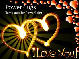 PowerPlugs: PowerPoint template with two glowing hearts and I Love You words with hearts on dark background
