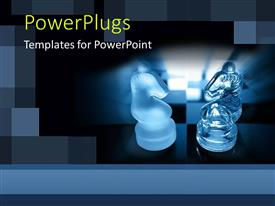 PowerPoint template displaying two glowing Knight chess pieces with blue background