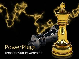 PowerPlugs: PowerPoint template with two gold and black colored chess pieces with the gold winning