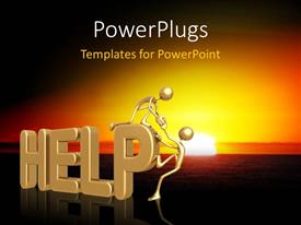 PowerPlugs: PowerPoint template with two gold colored 3D characters helping themselves onto a text which spell out the word 'help'