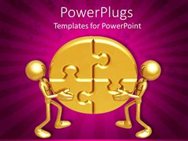 PowerPlugs: PowerPoint template with two goldcolored 3D characters holding up four puzzle pieces