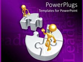 PowerPlugs: PowerPoint template with two gold colored characters standing on a circular puzzle