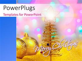 PowerPlugs: PowerPoint template with two gold colored Christmas balls and a gold Christmas three