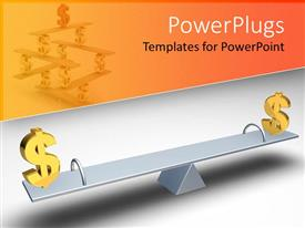 PowerPlugs: PowerPoint template with two gold colored dollar symbols on a balanced lever