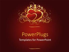 PowerPlugs: PowerPoint template with two gold colored hearts with ribbons on a red background
