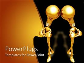 PowerPlugs: PowerPoint template with two gold colored human characters with gold bulb heads