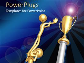 PowerPoint template displaying two gold colored human depictions working together to get a golden trophy cup