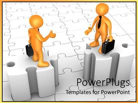 PowerPlugs: PowerPoint template with two gold colored human figures discussing while standing on puzzle pieces