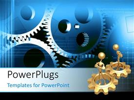 PowerPlugs: PowerPoint template with two gold plated 3D men in gold gears with other connected gears