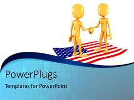PowerPlugs: PowerPoint template with two gold plated 3D men standing on the American flag shake hands