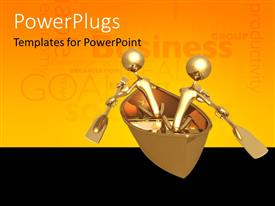 PowerPlugs: PowerPoint template with two gold plated men in canoe rowing with gold paddles