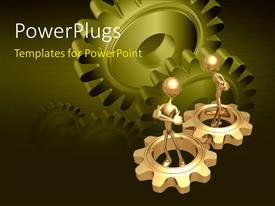 PowerPlugs: PowerPoint template with two gold plated men in gold gears with green gears in background