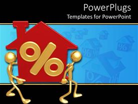 PowerPlugs: PowerPoint template with two gold plated men join hands to carry red house with percentage sign