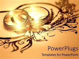 PowerPoint template displaying two gold rings wedding his and hers together