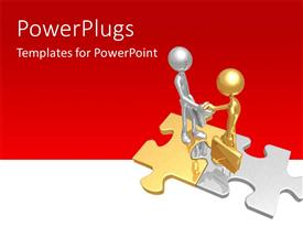 PowerPoint template displaying two gold and silver human characters standing on puzzles
