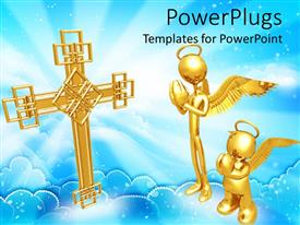 PowerPoint template displaying two golden characters with angel wings praying with a cross