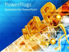 PowerPlugs: PowerPoint template with two golden characters carrying a text that spells out the word 'help '