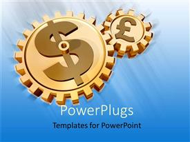 PowerPlugs: PowerPoint template with two golden connected gears with currency symbols euro and dollar