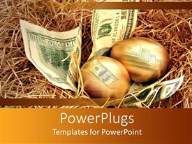 PowerPlugs: PowerPoint template with two golden eggs and dollar notes beneath them in a nest