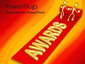 PowerPlugs: PowerPoint template with two golden figures unrolling red carpet bearing 'AWARDS' with red and gold background