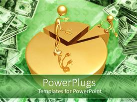PowerPlugs: PowerPoint template with two golden human figures arranging a big pie chart