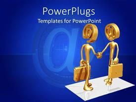 PowerPoint template displaying two golden human figures with the @ symbols on a blue background