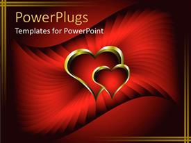 PowerPlugs: PowerPoint template with two golden love hearts inter linked on a red background