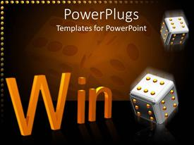 PowerPlugs: PowerPoint template with two gray steel dice with golden points and orange win word on dark background
