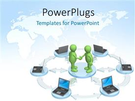 PowerPlugs: PowerPoint template with two green 3D characters standing in the middle of laptops