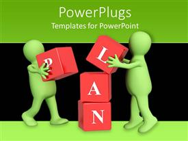 PowerPlugs: PowerPoint template with two green 3D figures working in team to put red blocks on over another to form the word plan