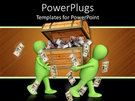 PowerPlugs: PowerPoint template with two green 3D men carrying wooden box filled with dollar bills