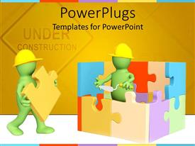 PowerPlugs: PowerPoint template with two green animated human characters building a puzzles house